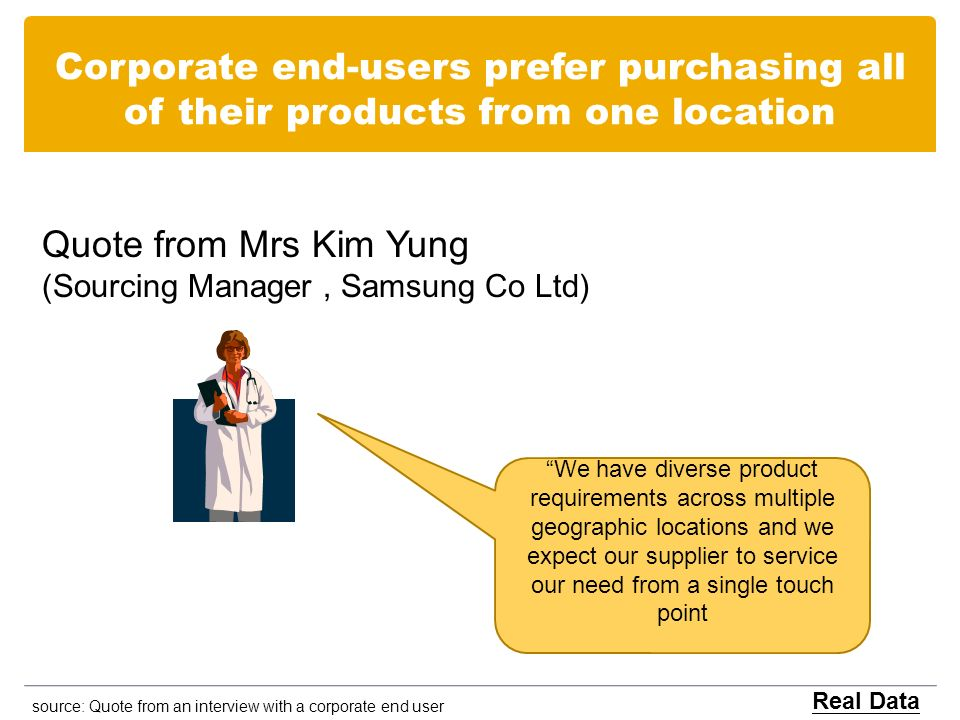 Corporate end-users prefer purchasing all of their products from one location Quote from Mrs Kim Yung (Sourcing Manager, Samsung Co Ltd) source: Quote from an interview with a corporate end user Real Data We have diverse product requirements across multiple geographic locations and we expect our supplier to service our need from a single touch point