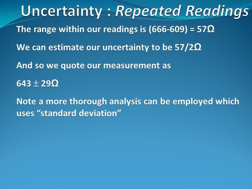 The range within our readings is ( ) = 57 Ω We can estimate our uncertainty to be 57/2 Ω And so we quote our measurement as Ω Note a more thorough analysis can be employed which uses standard deviation