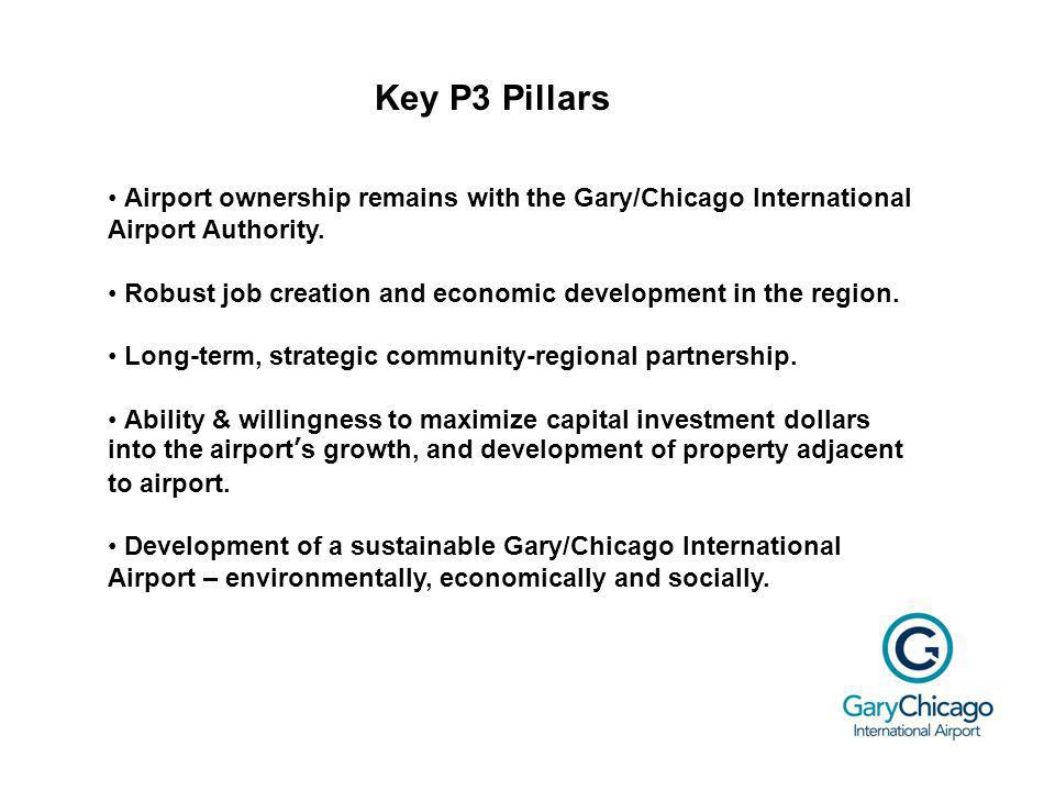 Key P3 Pillars Airport ownership remains with the Gary/Chicago International Airport Authority.