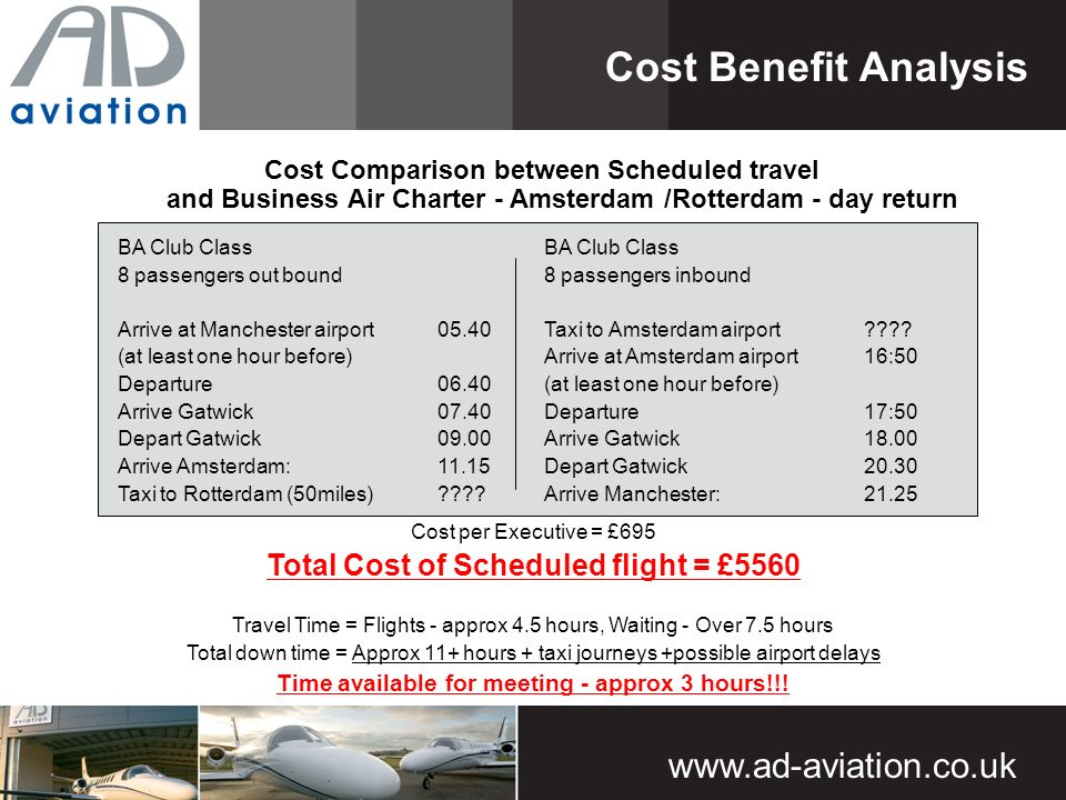 Cost Comparison between Scheduled travel and Business Air Charter - Amsterdam /Rotterdam - day return Cost Benefit Analysis BA Club Class 8 passengers out bound Arrive at Manchester airport (at least one hour before) Departure06.40 Arrive Gatwick07.40 Depart Gatwick09.00 Arrive Amsterdam:11.15 Taxi to Rotterdam (50miles) .
