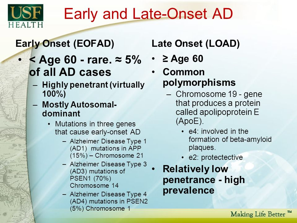 Early and Late-Onset AD Early Onset (EOFAD) < Age 60 - rare.