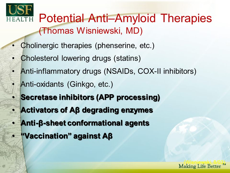 Potential Anti–Amyloid Therapies (Thomas Wisniewski, MD) Cholinergic therapies (phenserine, etc.) Cholesterol lowering drugs (statins) Anti-inflammatory drugs (NSAIDs, COX-II inhibitors) Anti-oxidants (Ginkgo, etc.) Secretase inhibitors (APP processing)Secretase inhibitors (APP processing) Activators of Aβ degrading enzymesActivators of Aβ degrading enzymes Anti-β-sheet conformational agentsAnti-β-sheet conformational agents Vaccination against AβVaccination against Aβ (Wisniewski, 8/03)