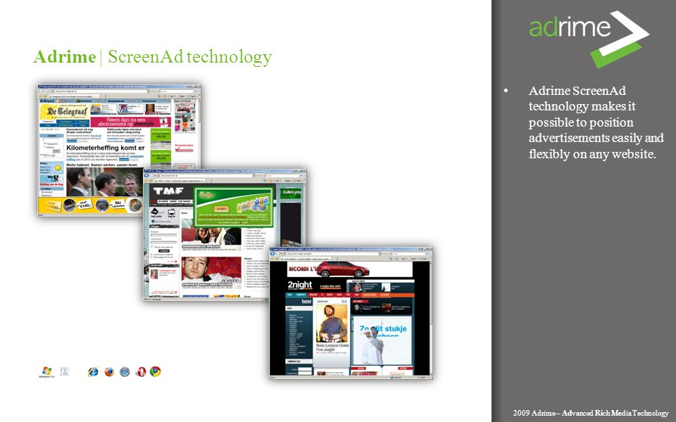 Adrime ScreenAd technology makes it possible to position advertisements easily and flexibly on any website.