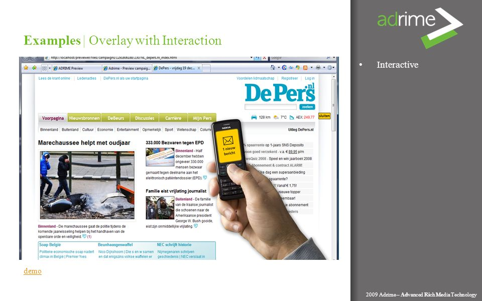 Interactive Examples | Overlay with Interaction 2009 Adrime – Advanced Rich Media Technology demo