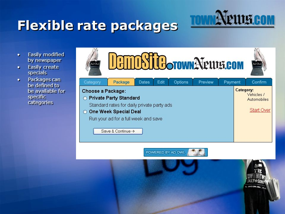 Flexible rate packages Easily modified by newspaper Easily create specials Packages can be defined to be available for specific categories Easily modified by newspaper Easily create specials Packages can be defined to be available for specific categories