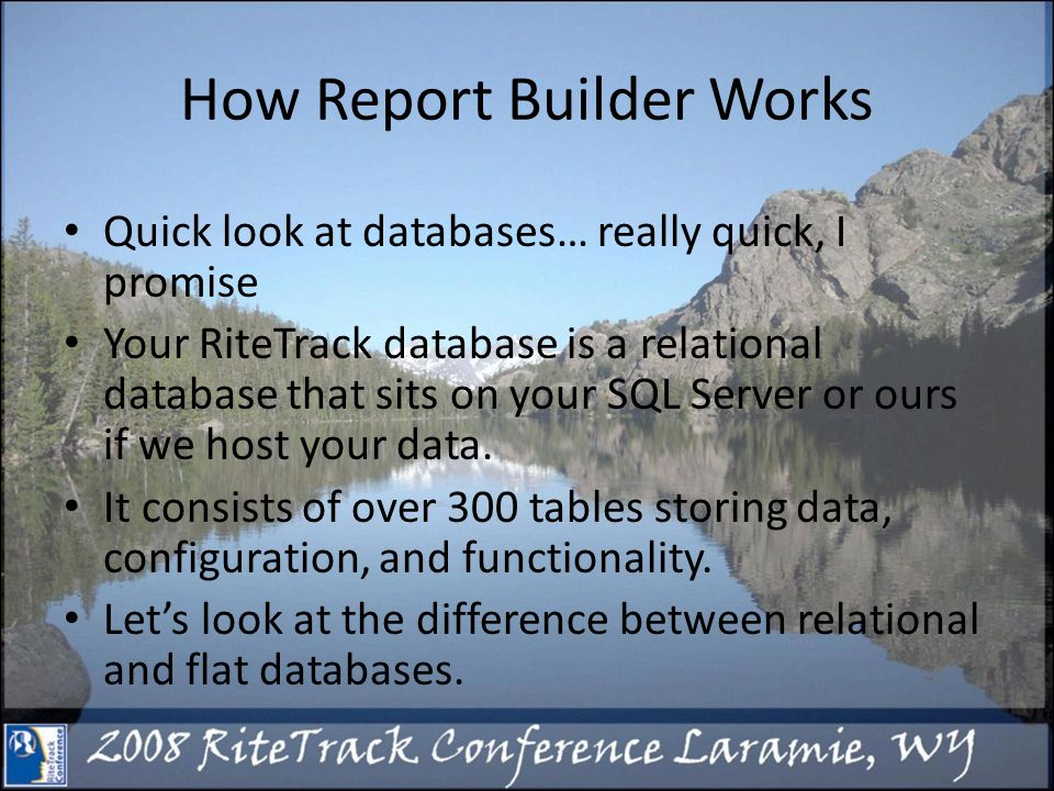 How Report Builder Works Quick look at databases… really quick, I promise Your RiteTrack database is a relational database that sits on your SQL Server or ours if we host your data.