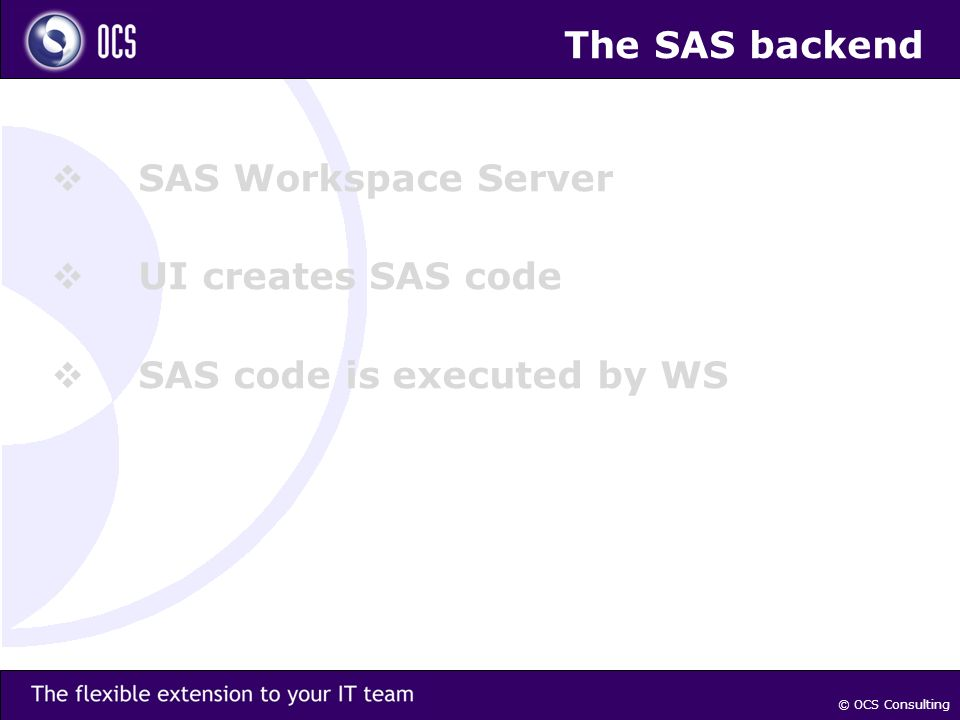 The SAS backend SAS Workspace Server UI creates SAS code SAS code is executed by WS © OCS Consulting