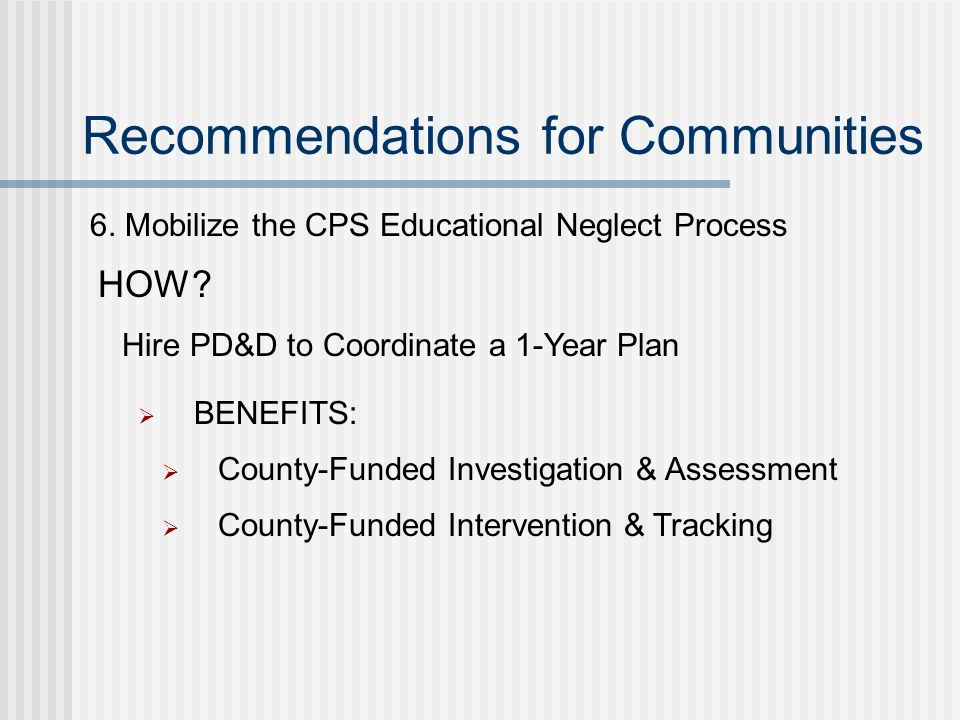 Recommendations for Communities 6.