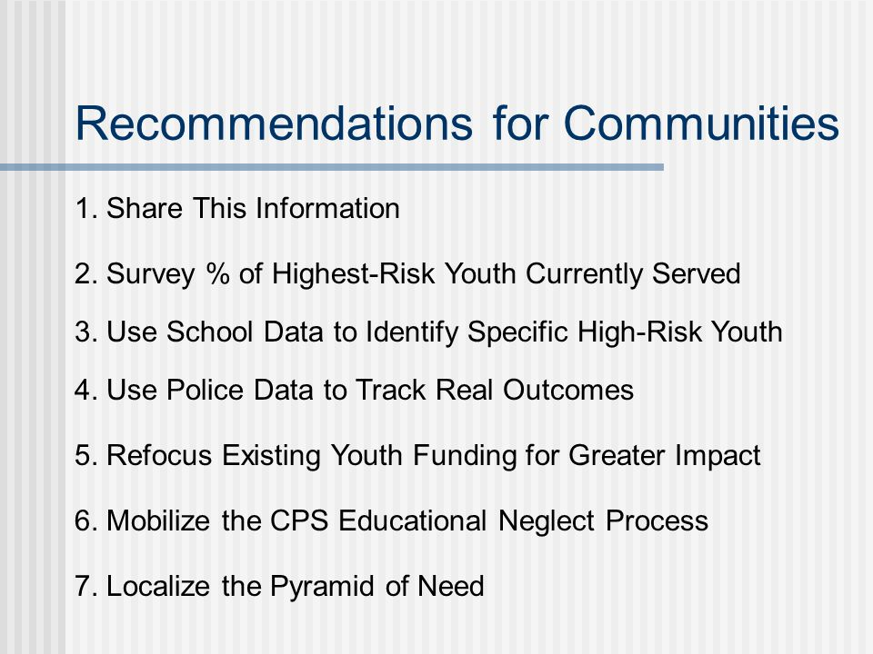 Recommendations for Communities 1. Share This Information 2.
