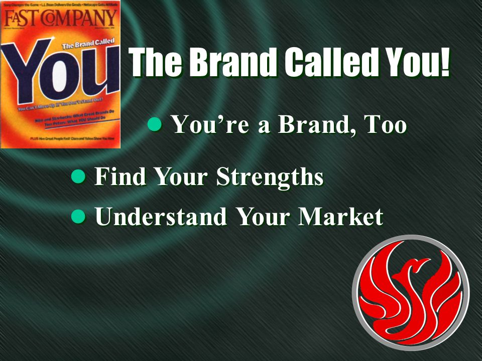 The Brand Called You! l Youre a Brand, Too l Find Your Strengths l Understand Your Market