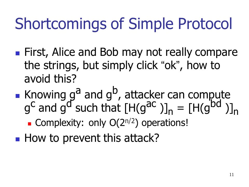 11 Shortcomings of Simple Protocol First, Alice and Bob may not really compare the strings, but simply click ok, how to avoid this.
