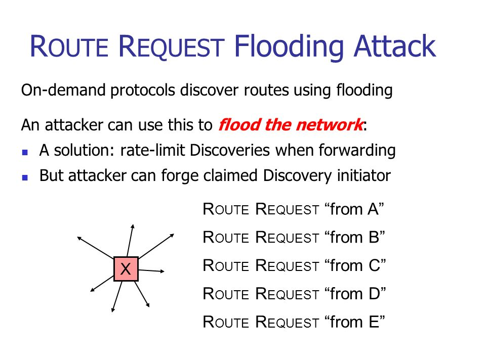 25 R OUTE R EQUEST Flooding Attack On-demand protocols discover routes using flooding An attacker can use this to flood the network: A solution: rate-limit Discoveries when forwarding But attacker can forge claimed Discovery initiator X R OUTE R EQUEST from A R OUTE R EQUEST from B R OUTE R EQUEST from C R OUTE R EQUEST from D R OUTE R EQUEST from E