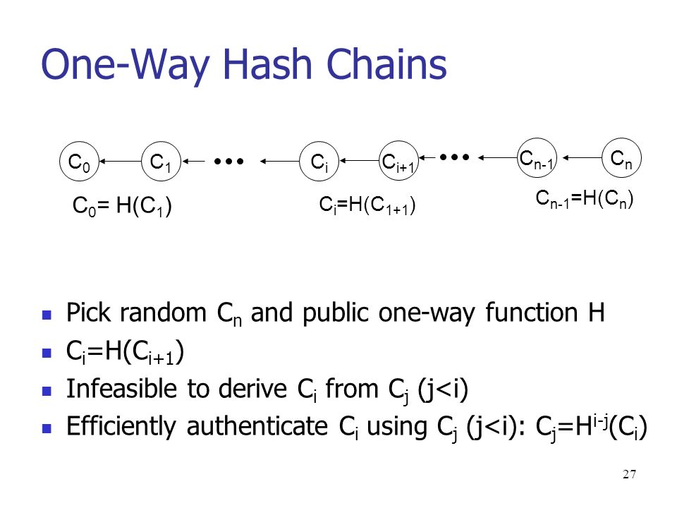 27 One-Way Hash Chains Pick random C n and public one-way function H C i =H(C i+1 ) Infeasible to derive C i from C j (j<i) Efficiently authenticate C i using C j (j<i): C j =H i-j (C i ) C1C1 C n-1 =H(C n ) C0C0 CiCi C i =H(C 1+1 ) C i+1 C 0 = H(C 1 ) C n-1 CnCn