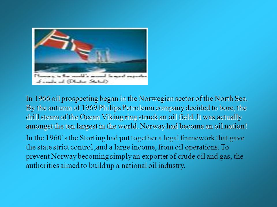 In 1966 oil prospecting began in the Norwegian sector of the North Sea.