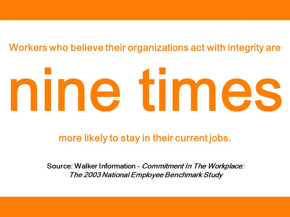 Source: Walker Information - Commitment In The Workplace: The 2003 National Employee Benchmark Study Workers who believe their organizations act with integrity are nine times more likely to stay in their current jobs.