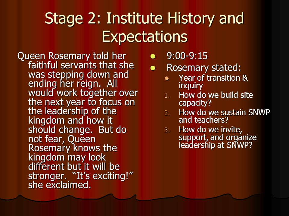 Stage 2: Institute History and Expectations Queen Rosemary told her faithful servants that she was stepping down and ending her reign.