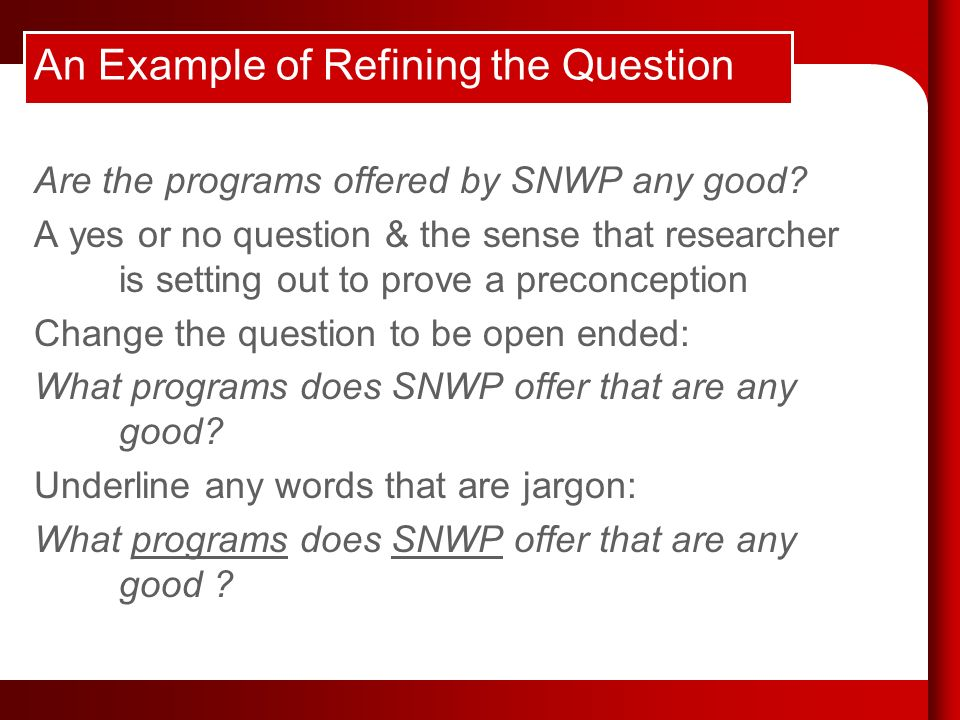 An Example of Refining the Question Are the programs offered by SNWP any good.