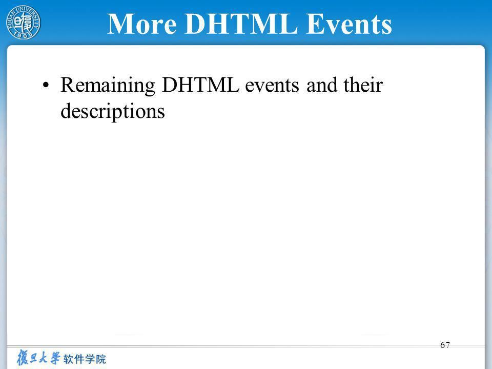 67 More DHTML Events Remaining DHTML events and their descriptions