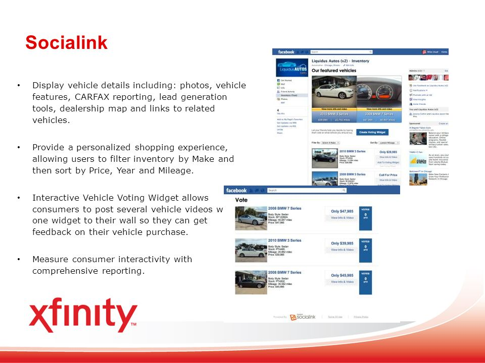 Socialink Display vehicle details including: photos, vehicle features, CARFAX reporting, lead generation tools, dealership map and links to related vehicles.