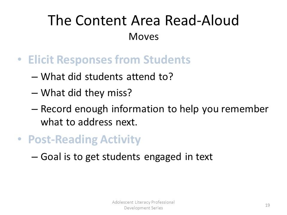 The Content Area Read-Aloud Moves Elicit Responses from Students – What did students attend to.