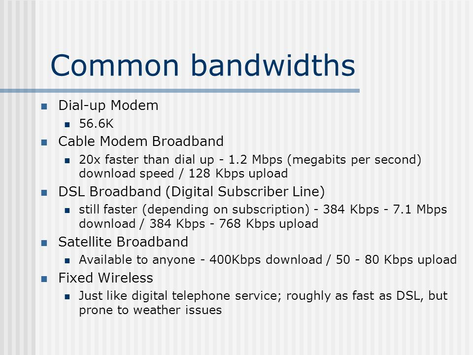 Common bandwidths Dial-up Modem 56.6K Cable Modem Broadband 20x faster than dial up Mbps (megabits per second) download speed / 128 Kbps upload DSL Broadband (Digital Subscriber Line) still faster (depending on subscription) Kbps Mbps download / 384 Kbps Kbps upload Satellite Broadband Available to anyone - 400Kbps download / Kbps upload Fixed Wireless Just like digital telephone service; roughly as fast as DSL, but prone to weather issues