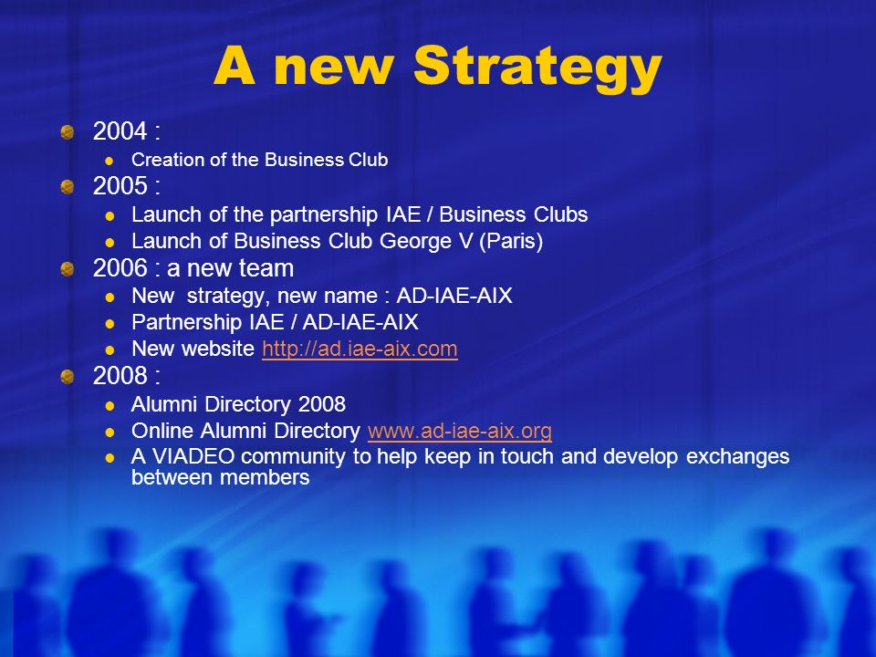 A new Strategy 2004 : Creation of the Business Club 2005 : Launch of the partnership IAE / Business Clubs Launch of Business Club George V (Paris) 2006 : a new team New strategy, new name : AD-IAE-AIX Partnership IAE / AD-IAE-AIX New website http://ad.iae-aix.comhttp://ad.iae-aix.com 2008 : Alumni Directory 2008 Online Alumni Directory www.ad-iae-aix.orgwww.ad-iae-aix.org A VIADEO community to help keep in touch and develop exchanges between members