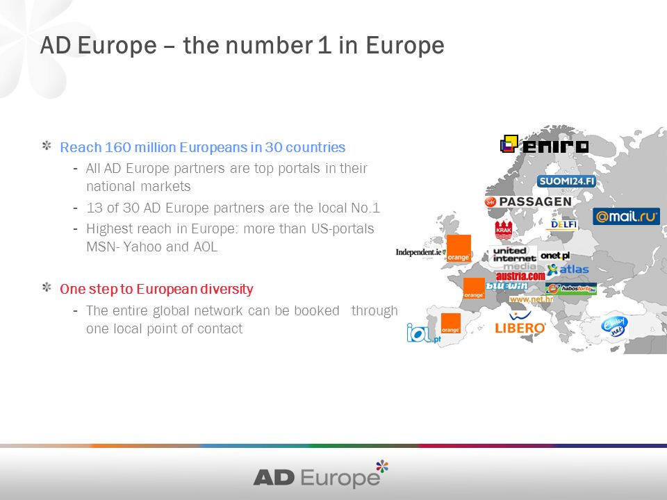 AD Europe – the number 1 in Europe Reach 160 million Europeans in 30 countries - All AD Europe partners are top portals in their national markets - 13 of 30 AD Europe partners are the local No.1 - Highest reach in Europe: more than US-portals MSN- Yahoo and AOL One step to European diversity - The entire global network can be booked through one local point of contact
