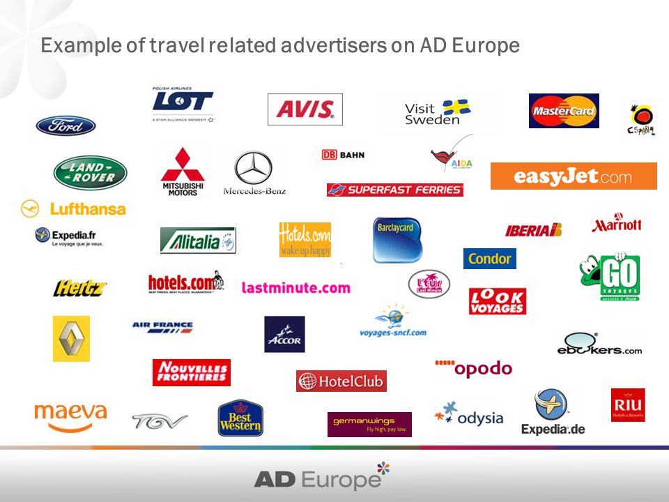 Example of travel related advertisers on AD Europe