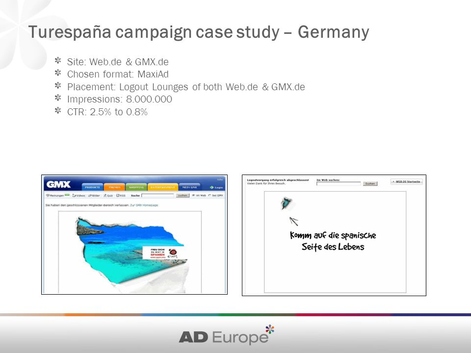 Site: Web.de & GMX.de Chosen format: MaxiAd Placement: Logout Lounges of both Web.de & GMX.de Impressions: CTR: 2.5% to 0.8% Turespaña campaign case study – Germany