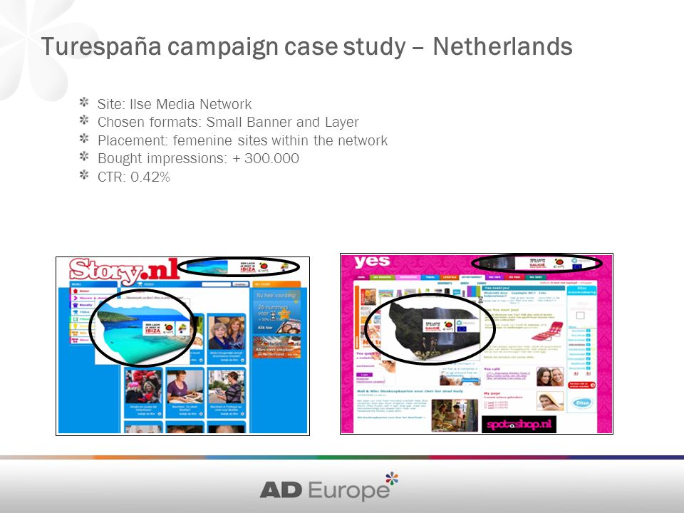 Site: Ilse Media Network Chosen formats: Small Banner and Layer Placement: femenine sites within the network Bought impressions: CTR: 0.42% Turespaña campaign case study – Netherlands