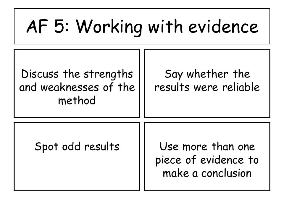 AF 5: Working with evidence Discuss the strengths and weaknesses of the method Say whether the results were reliable Spot odd resultsUse more than one piece of evidence to make a conclusion