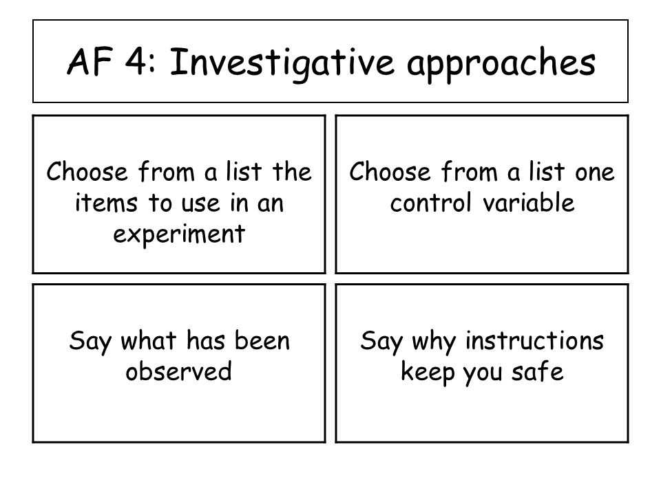AF 4: Investigative approaches Choose from a list the items to use in an experiment Choose from a list one control variable Say what has been observed Say why instructions keep you safe