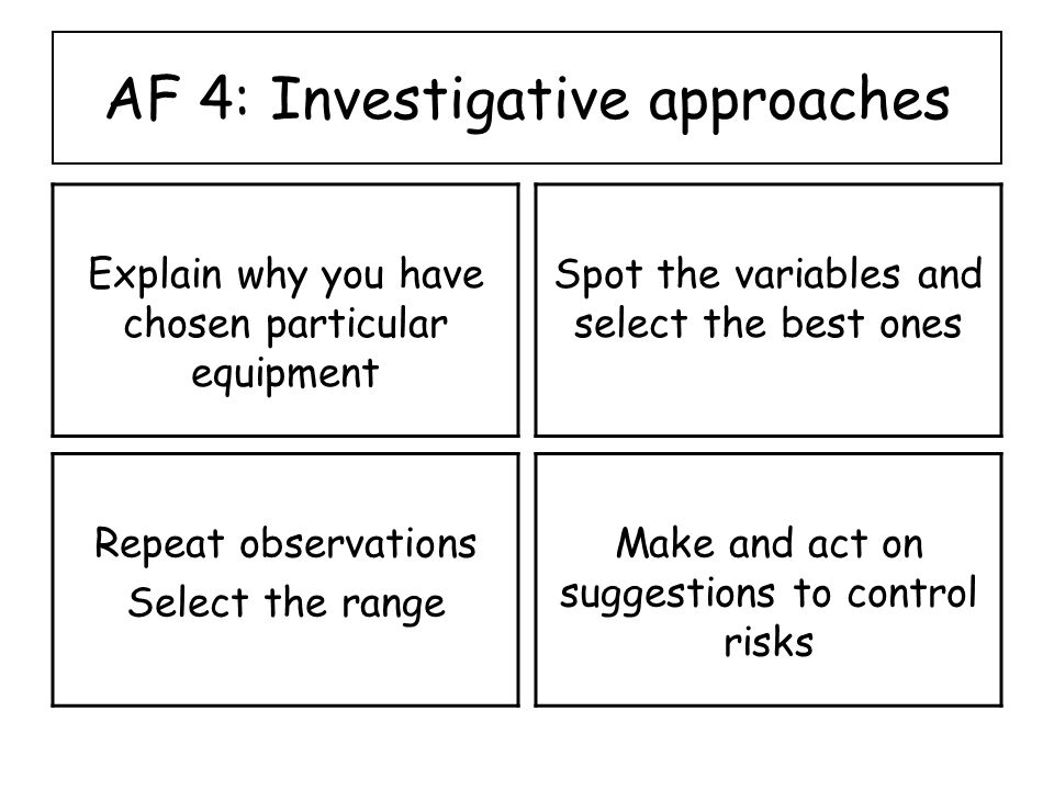 AF 4: Investigative approaches Explain why you have chosen particular equipment Spot the variables and select the best ones Repeat observations Select the range Make and act on suggestions to control risks