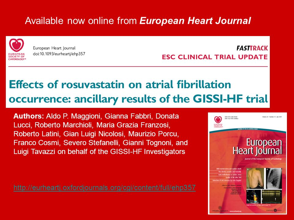 Available now online from European Heart Journal   Authors: Aldo P.