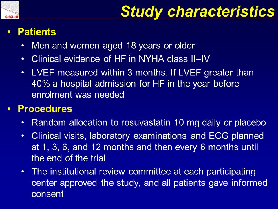 Study characteristics Patients Men and women aged 18 years or older Clinical evidence of HF in NYHA class II–IV LVEF measured within 3 months.
