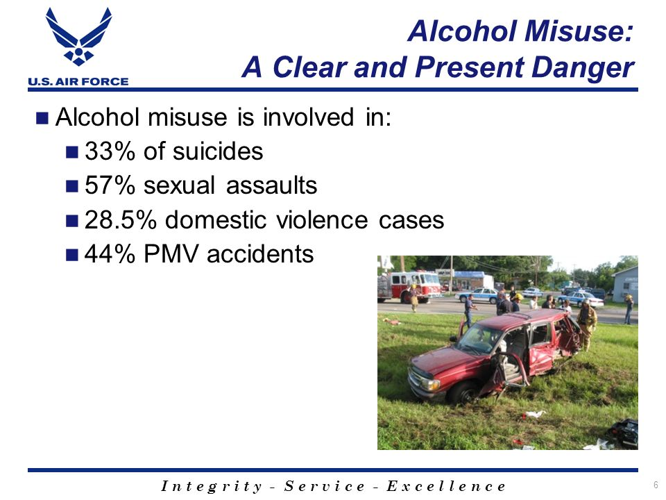 I n t e g r i t y - S e r v i c e - E x c e l l e n c e 6 Alcohol Misuse: A Clear and Present Danger Alcohol misuse is involved in: 33% of suicides 57% sexual assaults 28.5% domestic violence cases 44% PMV accidents