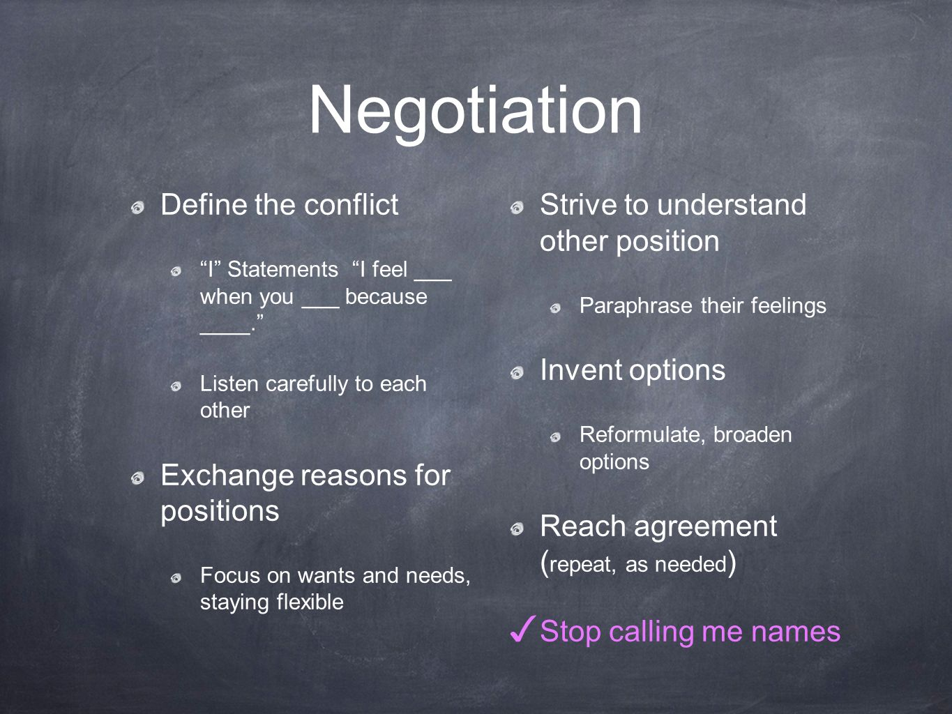 Negotiation Define the conflict I Statements I feel ___ when you ___ because ____.
