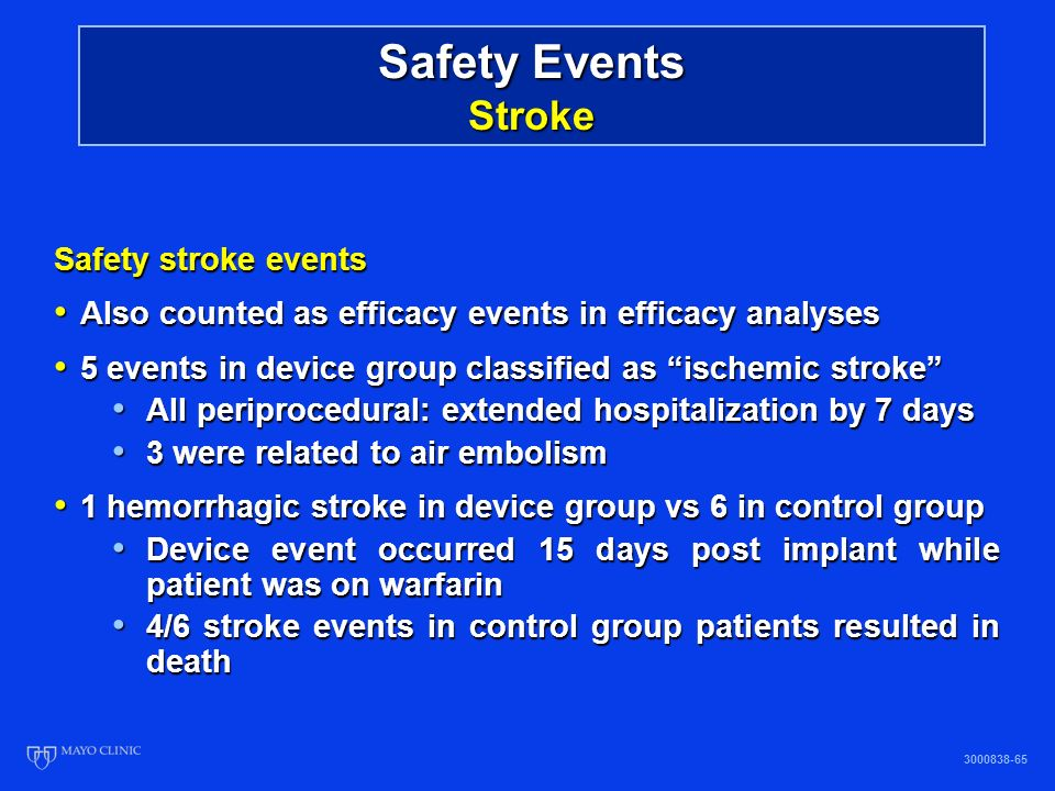 Safety Events Stroke Safety stroke events Also counted as efficacy events in efficacy analyses Also counted as efficacy events in efficacy analyses 5 events in device group classified as ischemic stroke 5 events in device group classified as ischemic stroke All periprocedural: extended hospitalization by 7 days All periprocedural: extended hospitalization by 7 days 3 were related to air embolism 3 were related to air embolism 1 hemorrhagic stroke in device group vs 6 in control group 1 hemorrhagic stroke in device group vs 6 in control group Device event occurred 15 days post implant while patient was on warfarin Device event occurred 15 days post implant while patient was on warfarin 4/6 stroke events in control group patients resulted in death 4/6 stroke events in control group patients resulted in death 3000838-65