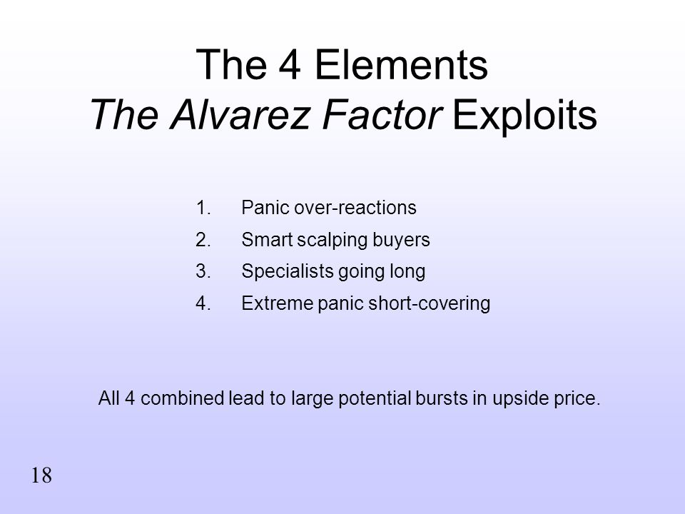 The 4 Elements The Alvarez Factor Exploits 1.Panic over-reactions 2.Smart scalping buyers 3.Specialists going long 4.Extreme panic short-covering All 4 combined lead to large potential bursts in upside price.