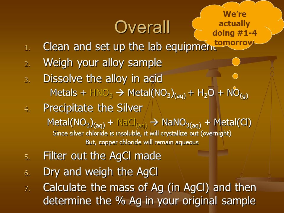 Overall 1. Clean and set up the lab equipment 2. Weigh your alloy sample 3.
