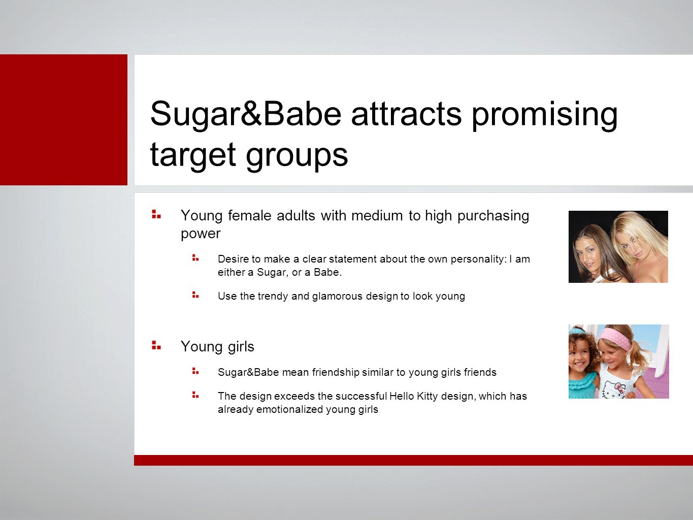 Sugar&Babe attracts promising target groups Young female adults with medium to high purchasing power Desire to make a clear statement about the own personality: I am either a Sugar, or a Babe.
