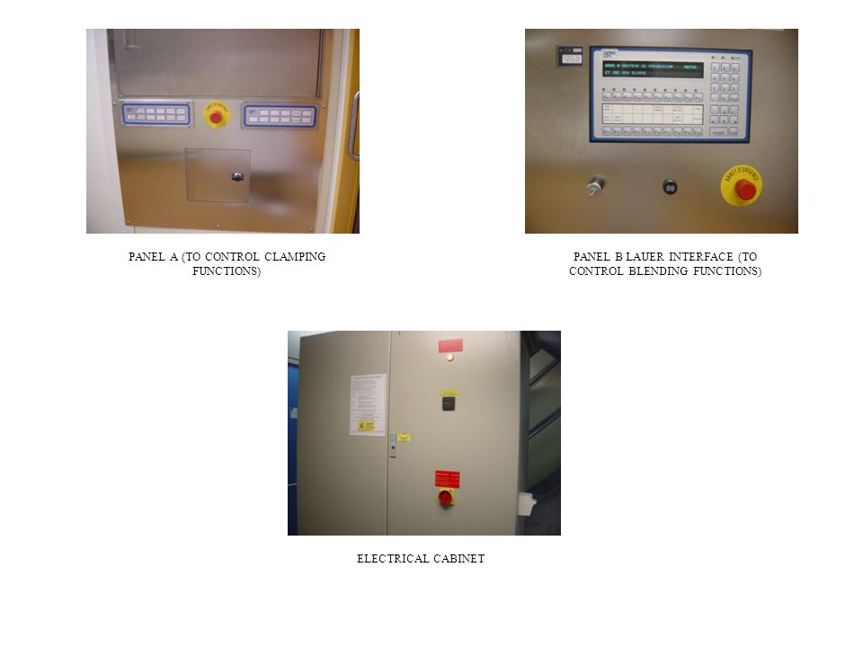 PANEL A (TO CONTROL CLAMPING FUNCTIONS) PANEL B LAUER INTERFACE (TO CONTROL BLENDING FUNCTIONS) ELECTRICAL CABINET
