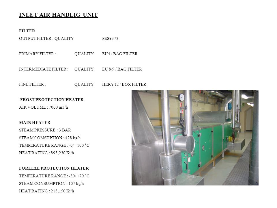 INLET AIR HANDLIG UNIT FILTER OUTPUT FILTER : QUALITY PES9373 PRIMARY FILTER : QUALITY EU4 / BAG FILTER INTERMEDIATE FILTER : QUALITY EU 8/9 / BAG FILTER FINE FILTER : QUALITY HEPA 12 / BOX FILTER FROST PROTECTION HEATER AIR VOLUME : 7000 m3/h MAIN HEATER STEAM PRESSURE : 3 BAR STEAM COMSUPTION : 428 kg/h TEMPERATURE RANGE : -0/ +100 °C HEAT RATING : 895,230 Kj/h FOREEZE PROTECTION HEATER TEMPERATURE RANGE : -30/ +70 °C STEAM CONSUMPTION : 107 kg/h HEAT RATING : 213,150 Kj/h