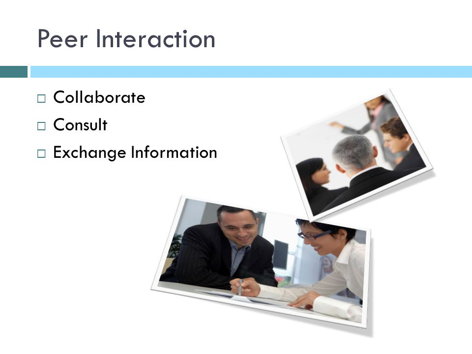 Peer Interaction Collaborate Consult Exchange Information