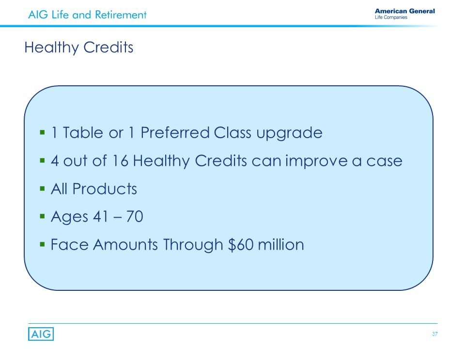 37 1 Table or 1 Preferred Class upgrade 4 out of 16 Healthy Credits can improve a case All Products Ages 41 – 70 Face Amounts Through $60 million Healthy Credits