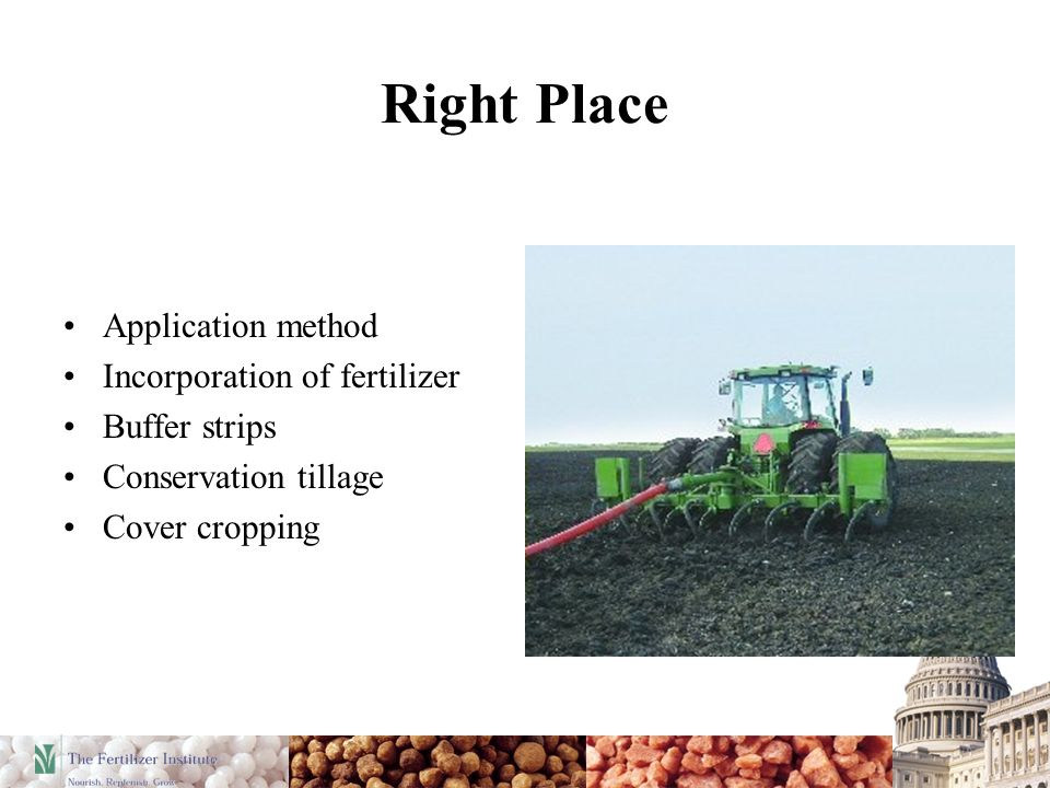 Right Place Application method Incorporation of fertilizer Buffer strips Conservation tillage Cover cropping