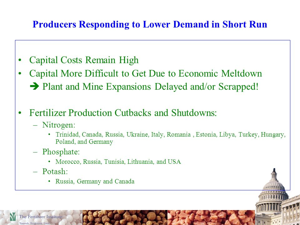 Producers Responding to Lower Demand in Short Run Capital Costs Remain High Capital More Difficult to Get Due to Economic Meltdown Plant and Mine Expansions Delayed and/or Scrapped.