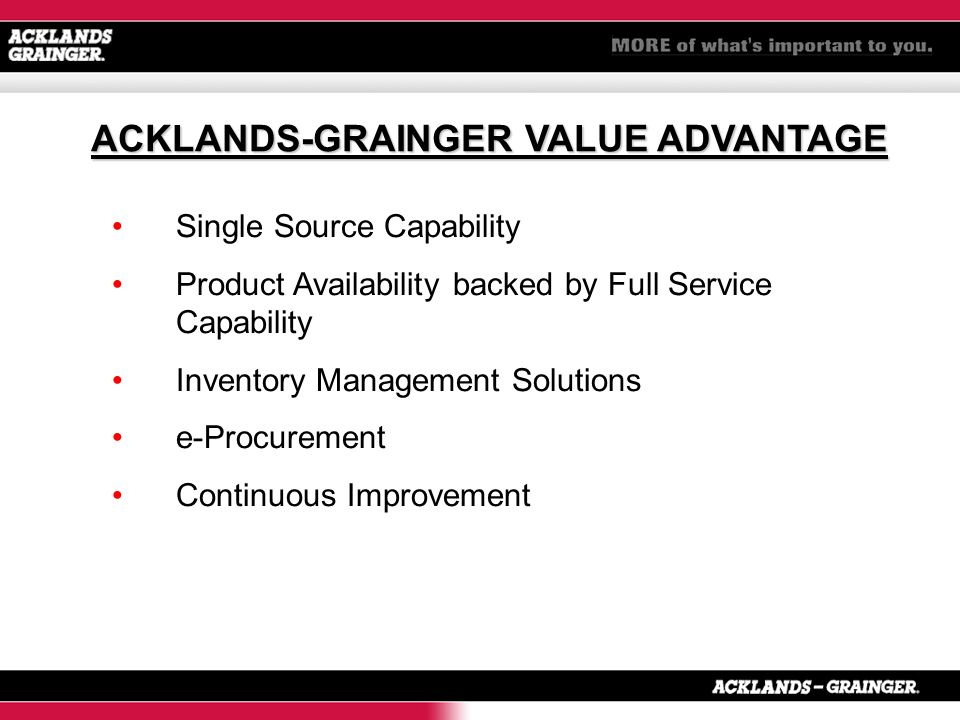 Single Source Capability Product Availability backed by Full Service Capability Inventory Management Solutions e-Procurement Continuous Improvement ACKLANDS-GRAINGER VALUE ADVANTAGE