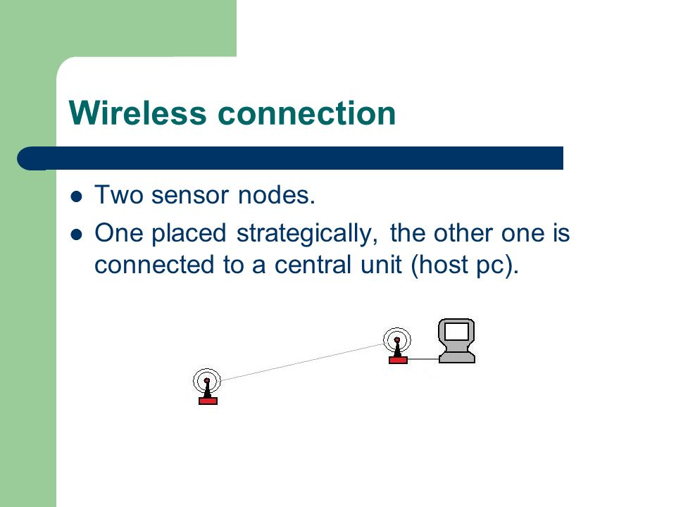 Wireless connection Two sensor nodes.