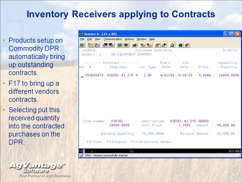 Inventory Receivers applying to Contracts Products setup on Commodity DPR automatically bring up outstanding contracts.
